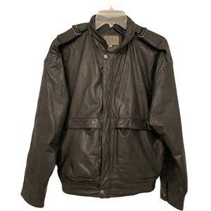 Vintage black leather motorcycle jacket grunge 90s